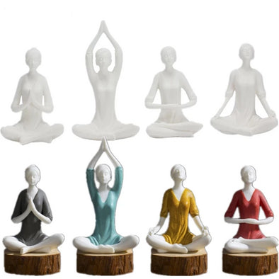 White & Colorful Girl Yoga Figurines