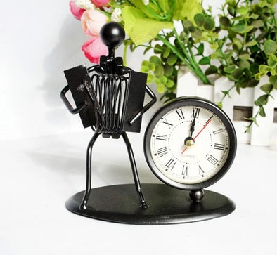 Miniature Accordion Player With Clock