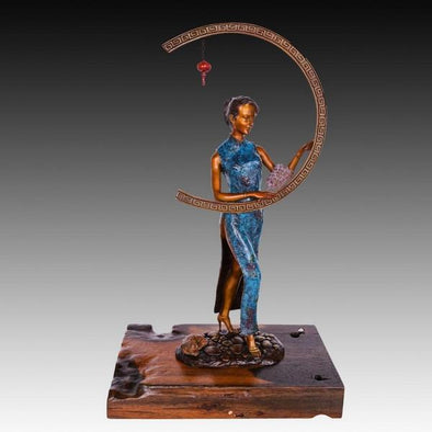Bronze Girl with a Round Window Large Wood Sculpture 1
