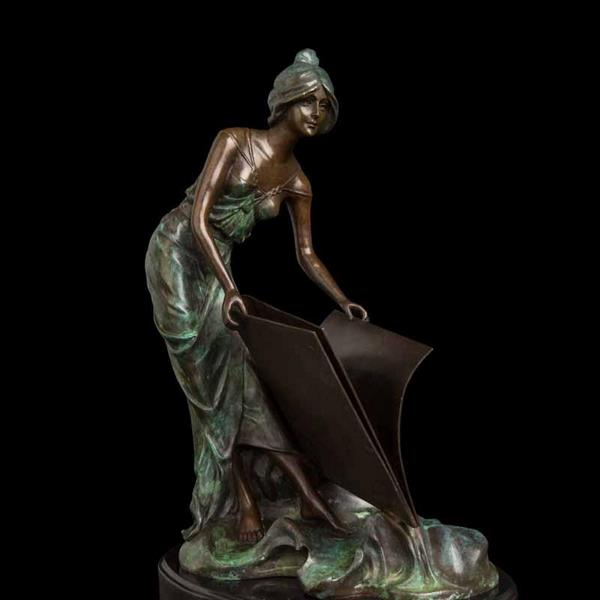 39cm Beautiful Woman with Book Figurine Statue Sculpture for Home