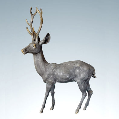 Auspicious Deer Bronze Sculpture Animal Deer Head Statue