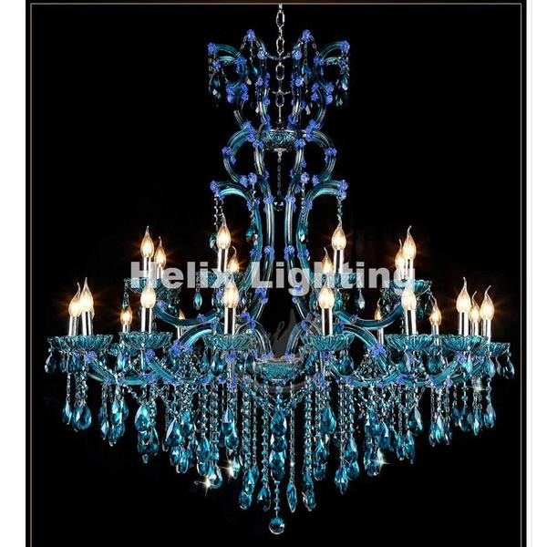 Luxurious Blue Lustre Crystal Chandeliers for Living Room & Hall