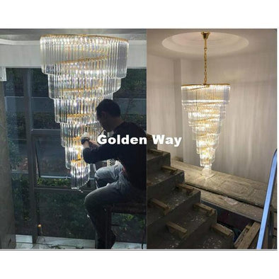 Decorative Golden and Chrome Crystal Chandelier Pendant Light