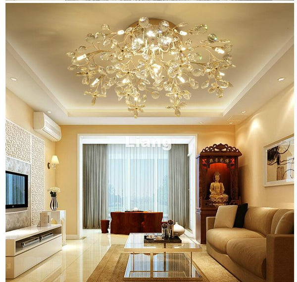 Golden Crystal Ceiling Lamp for Bedroom, Dining Room