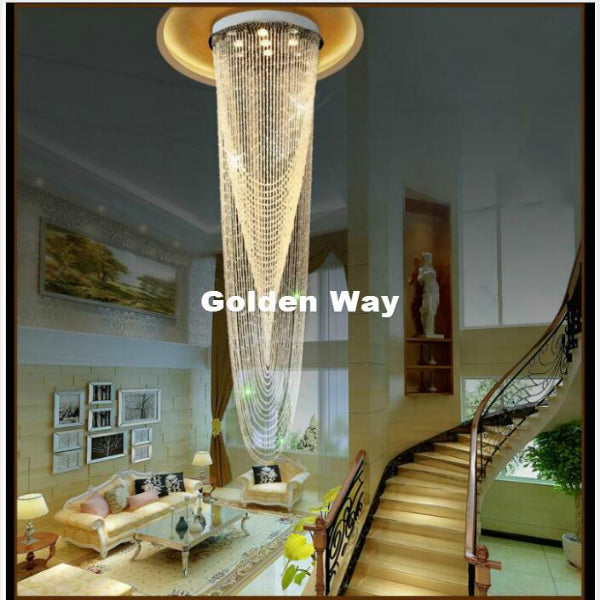 LED Crystal Ceiling Light Fixture Long Crystal Pendant Light