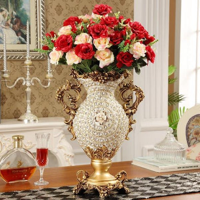 European Style Luxury Diamond Resin Flower Vase 1