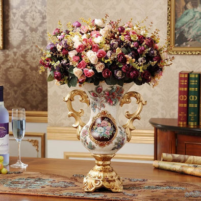 Luxury Resin Decorative Vase with Flowers