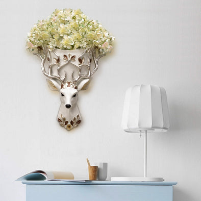 Decorative Deer Head Wall Vase with Flowers