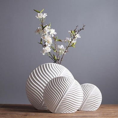 Nordic White Ceramic Leaf Vase