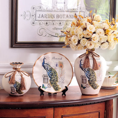 Decorative Ceramic Vase with Artificial Flower