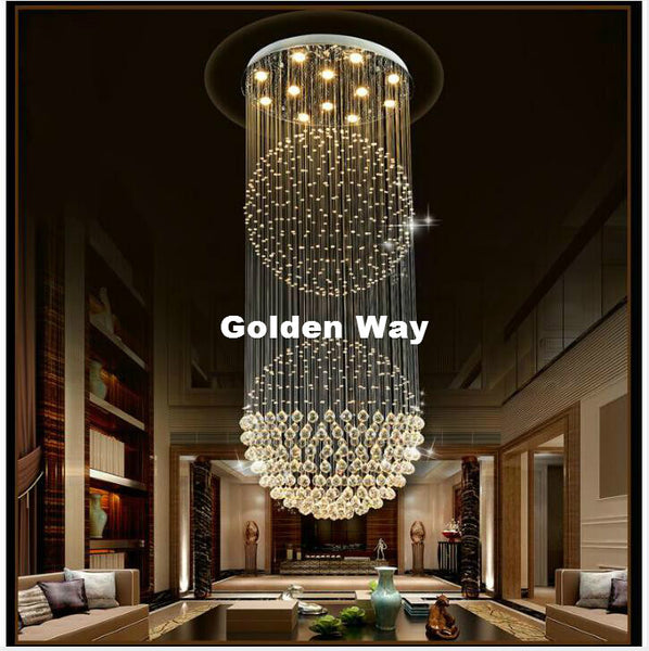 Modern Staircase Crystal Chandelier Lighting Pendant Lamp & Crystal Ceiling Light