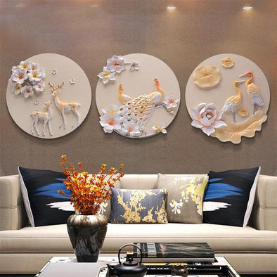 3D Triple Circular Wall Hanging Painting