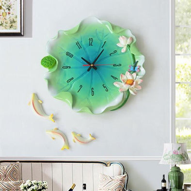 Beautiful Creative Garden Lotus Leaf Wall Clock