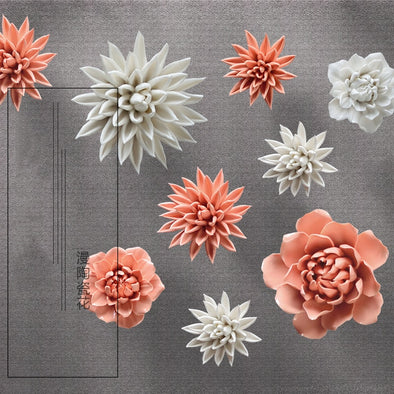 Ceramic three-dimensional flower wall decoration