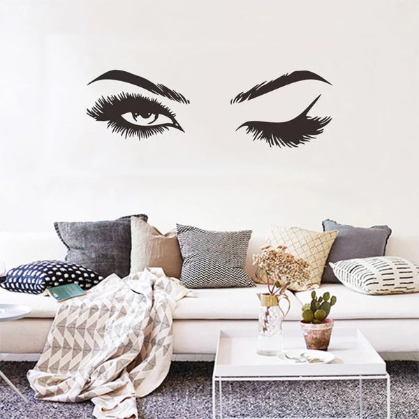 Wall Sticker Girl's winking with Pretty eyelashes