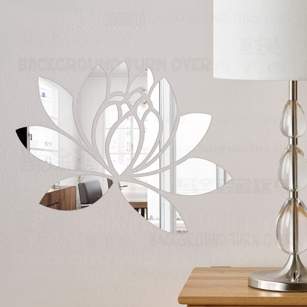 Lotus 3D Decorative Acrylic Mirror Wall Stickers (11 colors, 5 sizes)