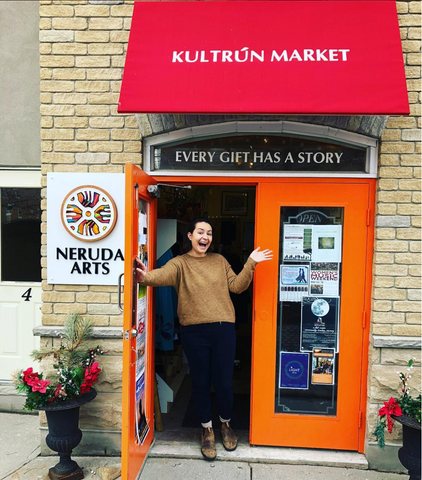 Kultrun Market storefont; social enterprise Uptown Waterloo. Best Gift Shop in Waterloo with wide gift array and an impetus to ensure artisans and artists get their due remuneration