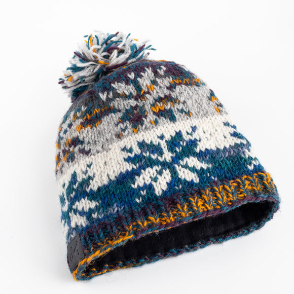 Wool Hat - Snowflake Pattern