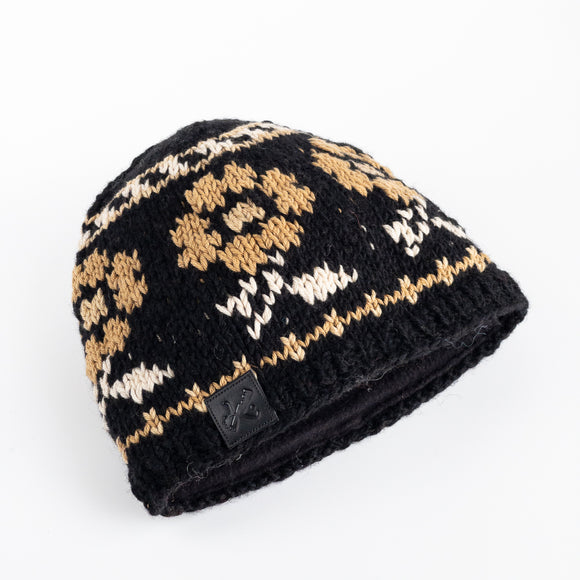 Wool Hat - Cotton Flower Pattern