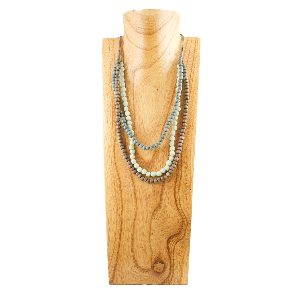 wooden and resin bead necklace, 3 strands in mint, blue, brown, adjustable length