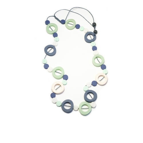 Long Resin Hoop & Disc Necklace