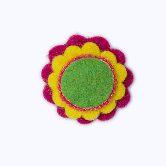 Beaded Circle Brooch