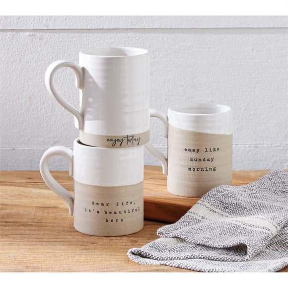 Stoneware Mugs with Message
