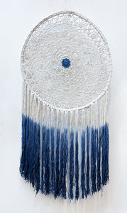 Natural Cotton Macrame Dreamcatcher - Indigo