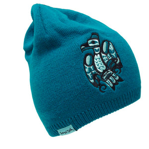 Embroidered Knit Hat - Raven