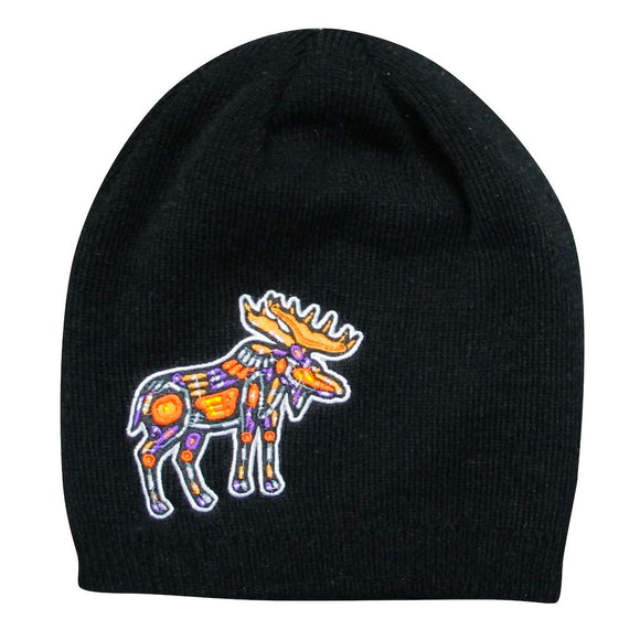 Embroidered Knit Hat - Moose