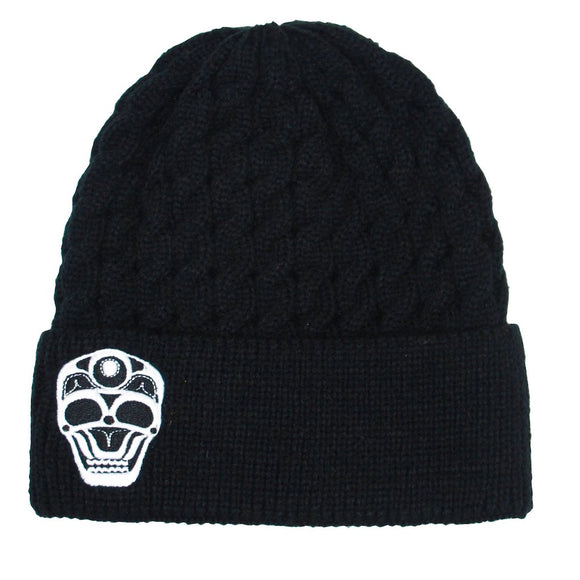 Embroidered Knit Hat - Skull