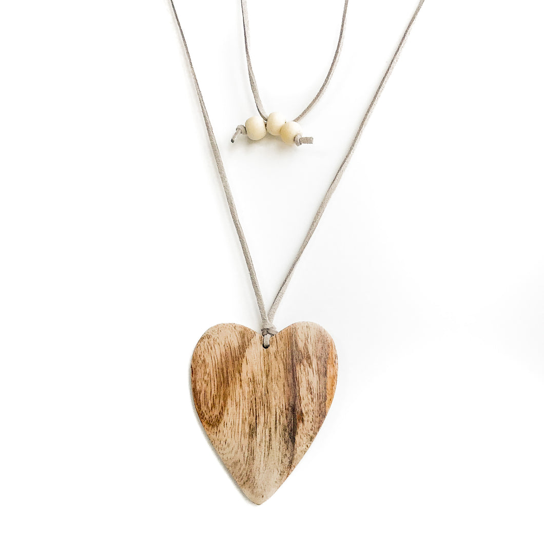 Wooden Heart Pendant Necklace