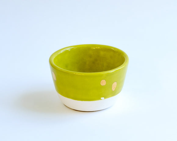 Green & White Gold Blots Bowl
