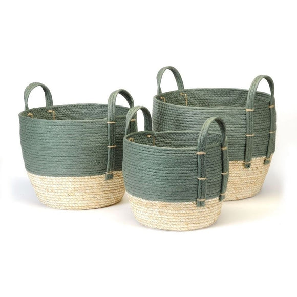 Natural Straw Basket - Green