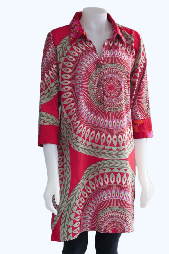 3/4 Sleeve Tunic - Red
