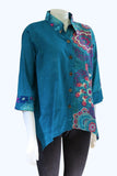 3/4 Sleeve Button-up Top - Periwinkle