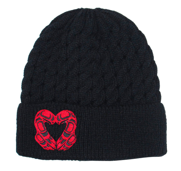 Embroidered Knit Hat - Eagle Heart