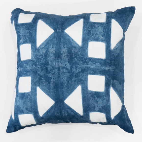 Cushion Cover - Blue with White Shapes