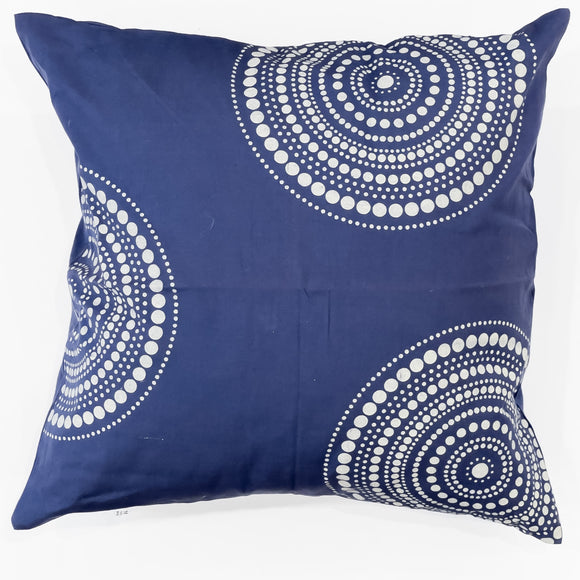 Cushion Cover - Blue With Silver/Grey circles