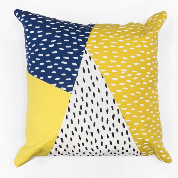 Cushion Cover - Blue, Yellow and White