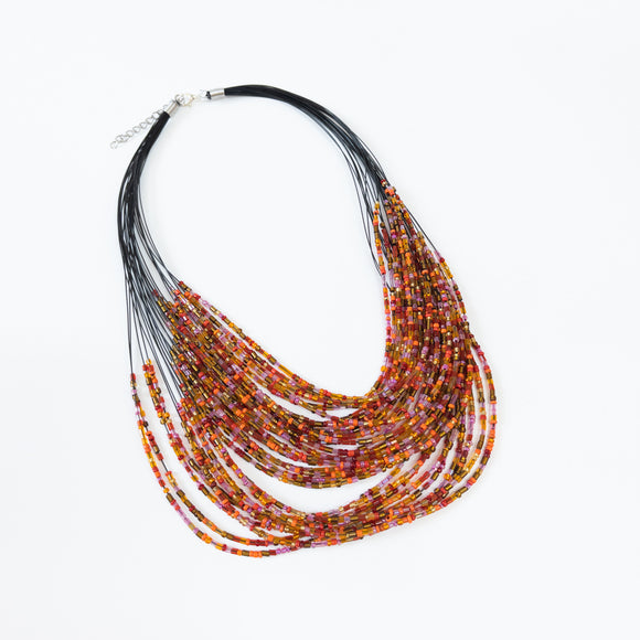 Orange Beaded Multi-strand Necklace