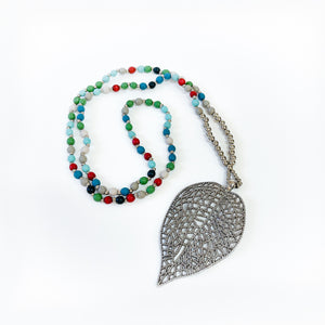 Multi Colour Bead Necklace With Filigree Leaf
