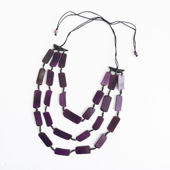 Tagua Rectangle Slice Necklace Triple Strand