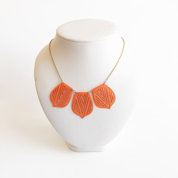 Necklace with Orange Shapes