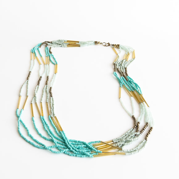 Turquoise Bead & Tube Necklace