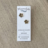 Bronze sculpted stud earrings