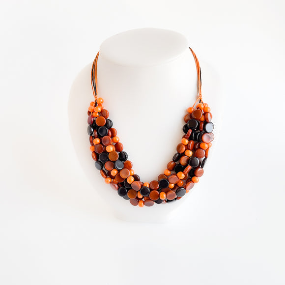 Tagua Small Disc & Bead Necklace