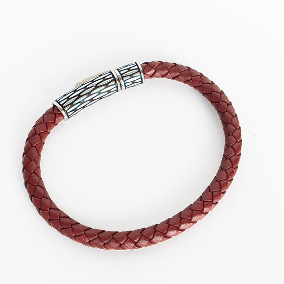A.R.Z. Steel and Leather Bracelet - Red