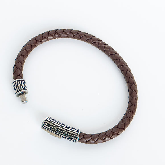 A.R.Z. Steel and Leather Bracelet - Brown
