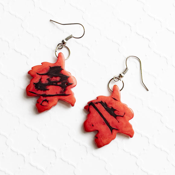 Tagua Slice Earrings - Maple Leaf